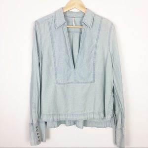 Free People chambray popover top flowy top M